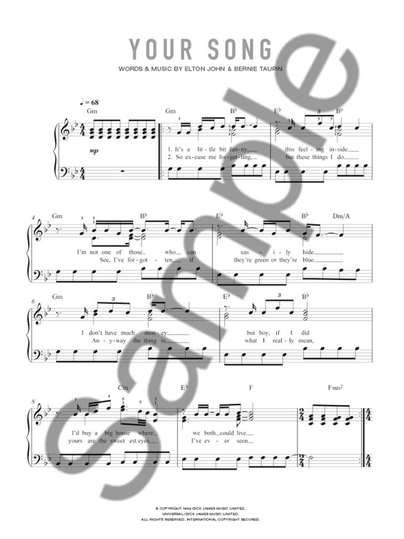 Essential Piano Singles Ellie Goulding Your Song Single Sheet
