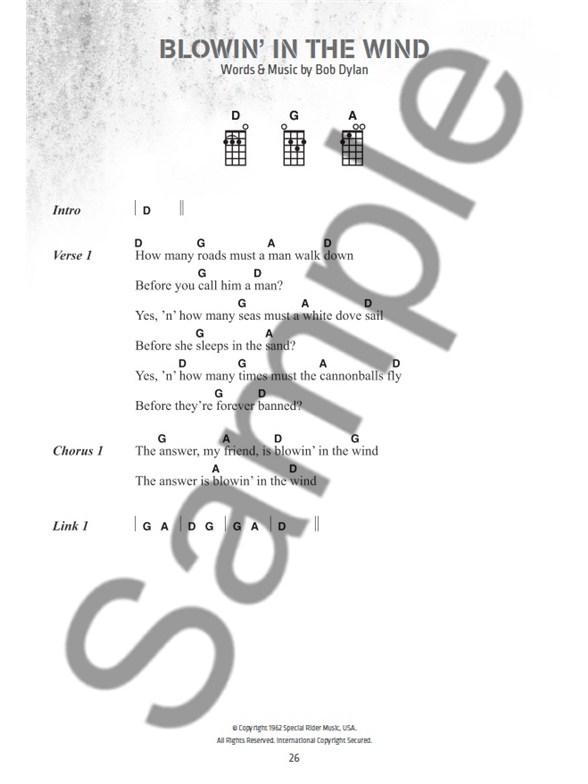 Bob Dylan Ukulele Chord Songbook - Ukulele Sheet Music - Sheet Music ...