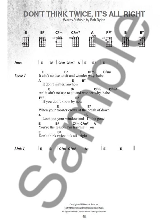 Bob Dylan Ukulele Chord Songbook Ukulele Sheet Music Sheet Music