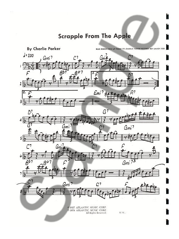 charlie parker omnibook bass clef instruments