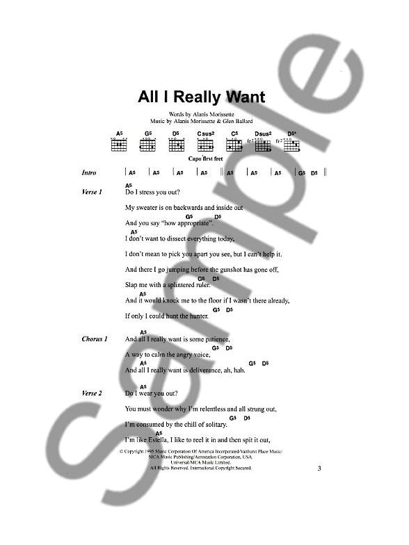 The Big Rock Guitar Chord Songbook Female Lyrics Chords Sheet