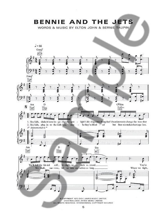 Elton John: The Piano Transcriptions - Melody Line, Lyrics & Chords ...