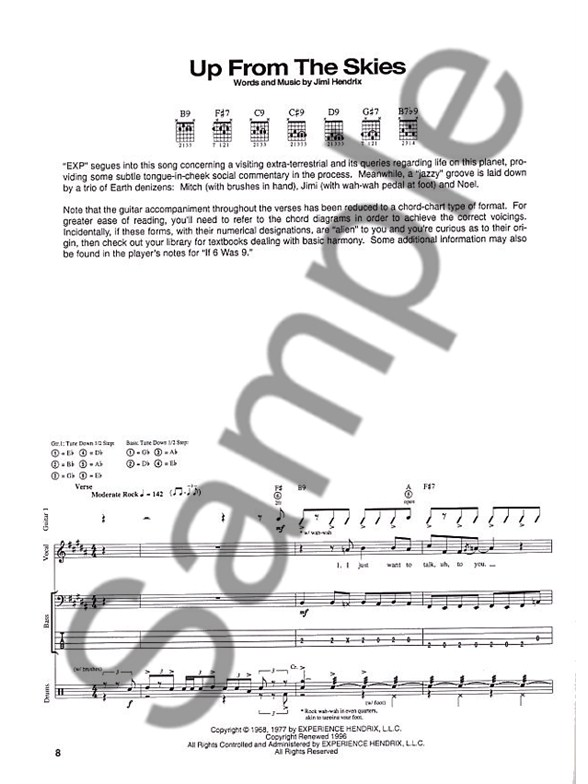 The Jimi Hendrix Experience Axis Bold As Love Transcribed Scores