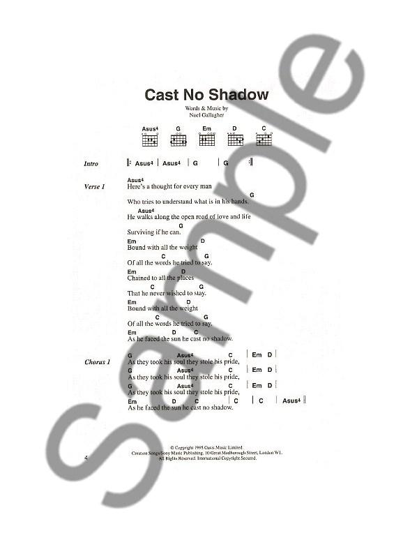 Oasis The Chord Songbook Lyrics Chords Sheet Music Sheet
