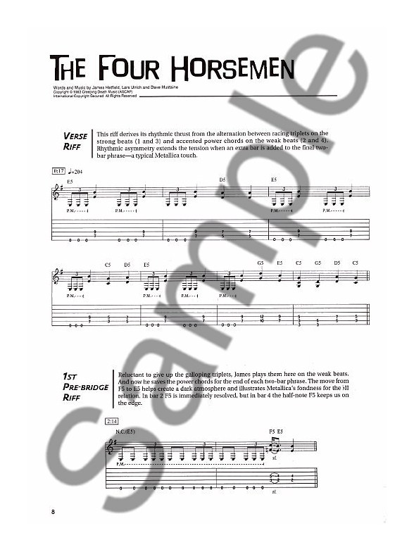 Metallica Guitar Riff By Riff Guitar Tab Sheet Music Tuition