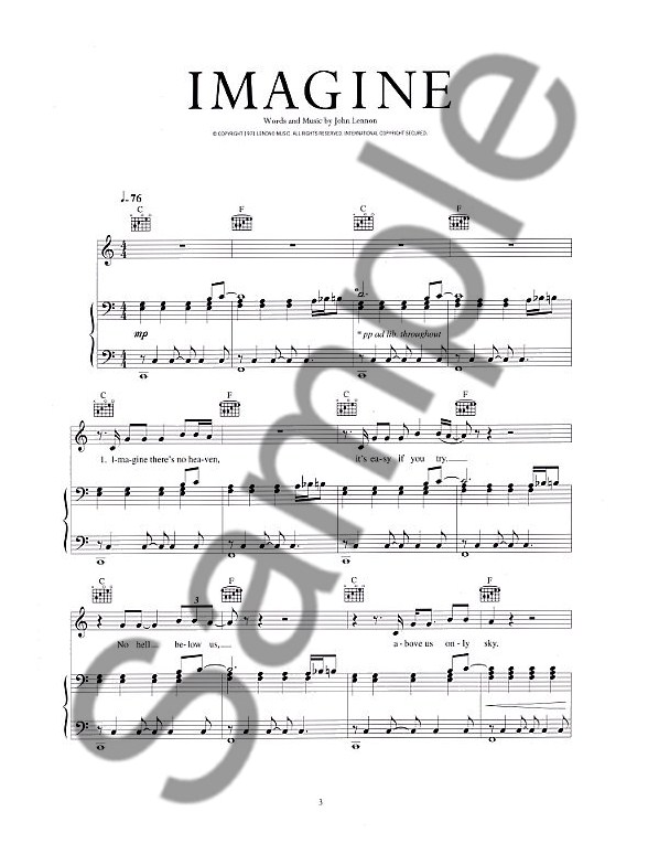 John Lennon: Imagine - Piano, Vocal & Guitar Digital Sheet Music ...