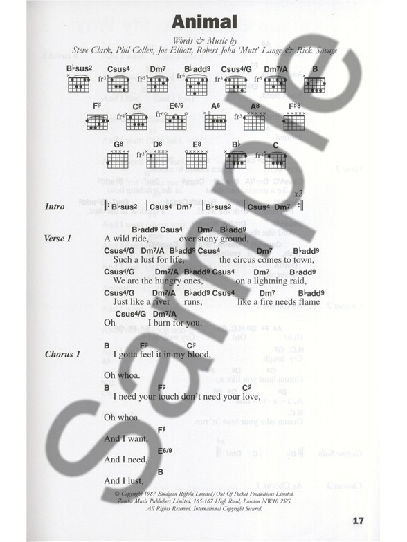 The Big Guitar Chord Songbook Classic Rock Lyrics Chords Sheet