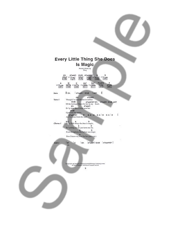 The Little Black Songbook The Police Lyrics Chords Sheet Music