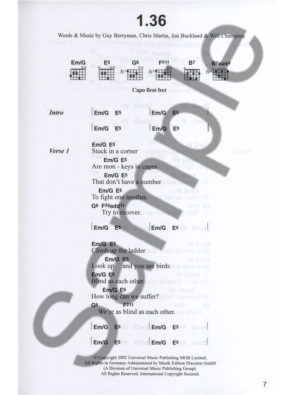 Coldplay Complete Chord Songbook Revised Edition Lyrics