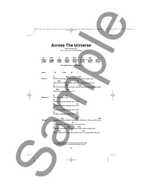 The Little Black Songbook: Acoustic Classics - Lyrics & Chords Sheet ...