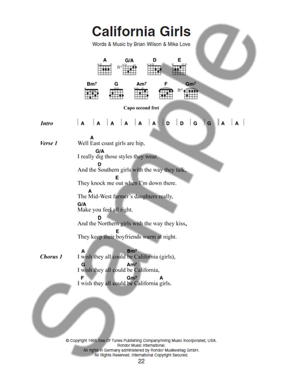 The Little Black Songbook The Beach Boys Lyrics Chords Sheet