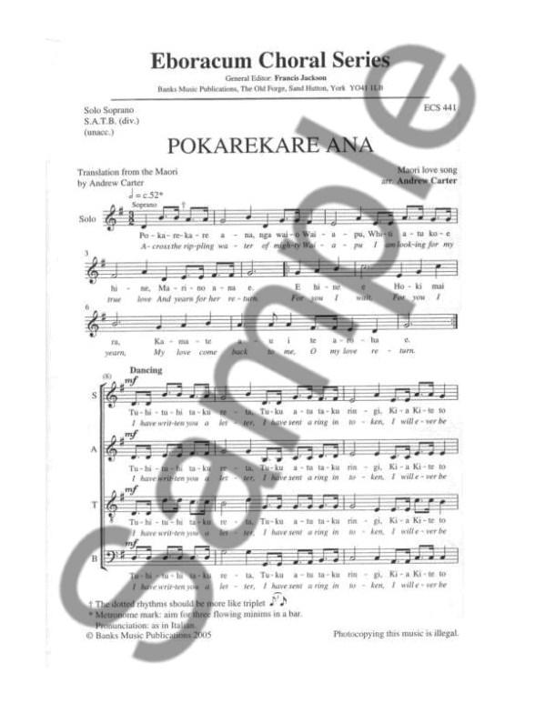 pokarekare ana sheet music pdf
