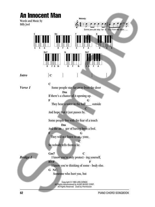 Piano Chord Songbook Billy Joel Lyrics Piano Chords Sheet Music