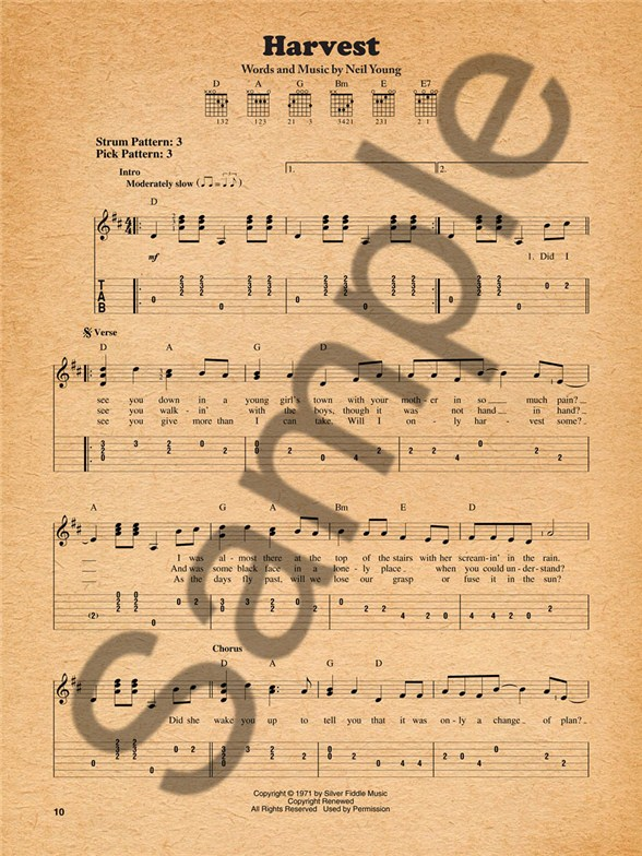 Neil Young Harvest Easy Guitar Tab Sheet Music Sheet Music