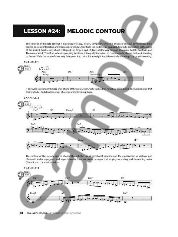 keyboard lesson goldmine  100 jazz lessons  book  2 cds  - keyboard sheet music