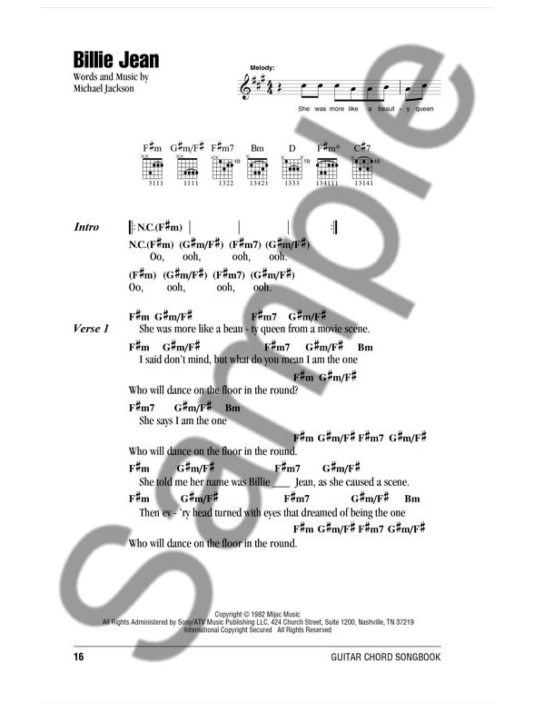 Michael Jackson: Guitar Chord Songbook - Lyrics & Chords Sheet Music ...