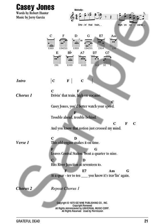Grateful Dead Guitar Chord Songbook Guitar Sheet Music Sheet
