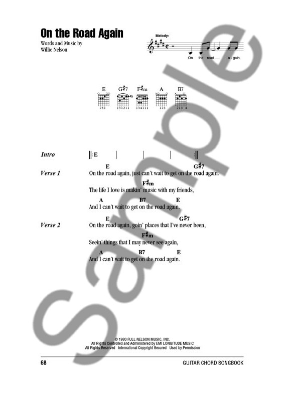 Willie Nelson: Guitar Chord Songbook - Lyrics & Chords Sheet Music ...