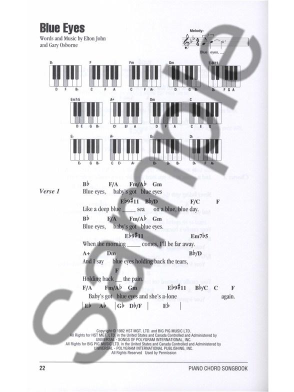 Piano Chord Songbook Elton John Lyrics Piano Chords Sheet Music