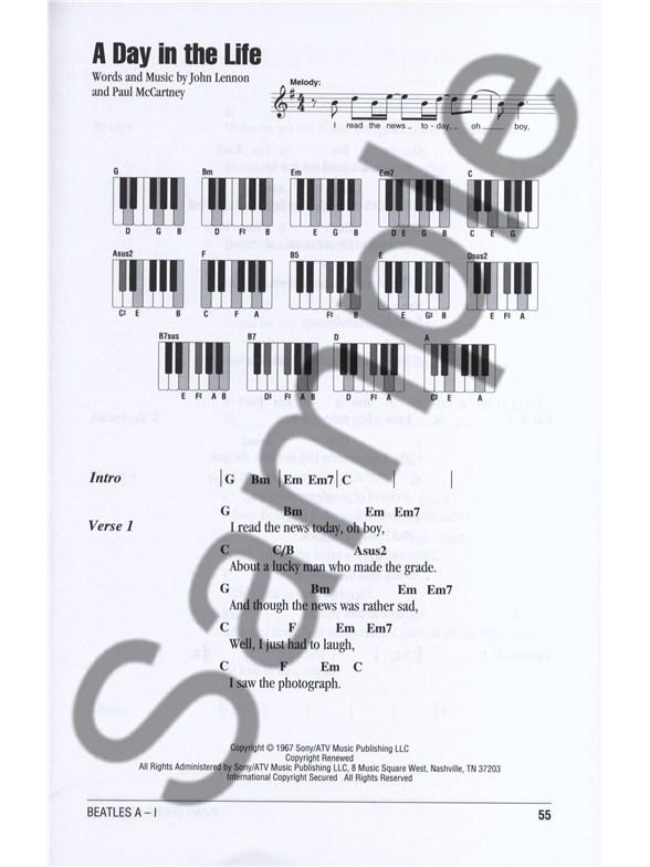 Piano Chord Songbook The Beatles A I Lyrics Piano Chords Sheet