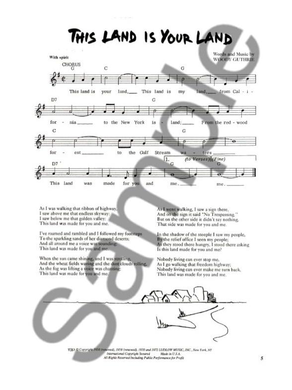 Woody Guthrie Songbook Melody Line Lyrics Chords Sheet Music