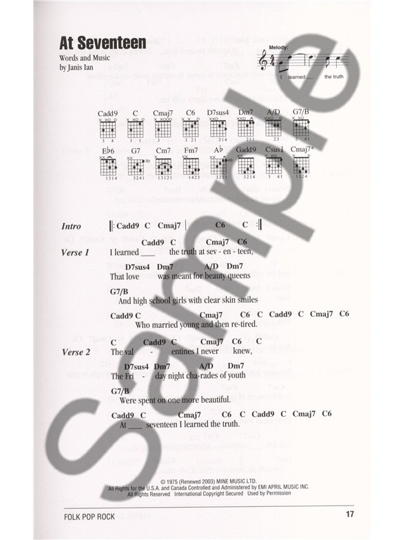 Guitar Chord Songbook: Folk Pop Rock - Lyrics & Chords Sheet Music ...