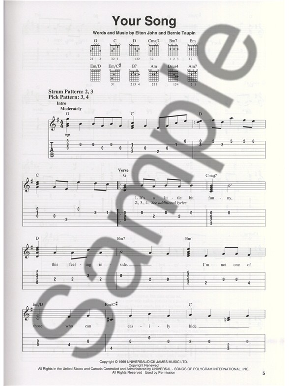 Elton John: Greatest Hits 1970-2002 (Easy Guitar TAB) - Guitar Sheet ...