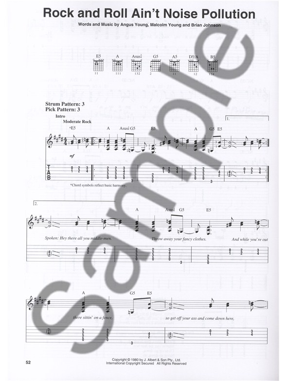 Acdc Easy Guitar With Riffs And Solos Guitar Sheet Music Sheet