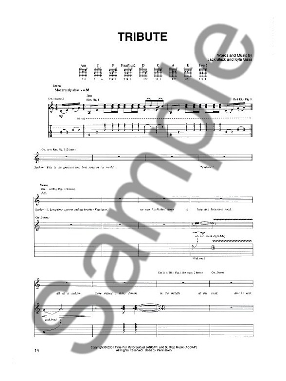 Tenacious D Guitar Tab Sheet Music Sheet Music Songbooks