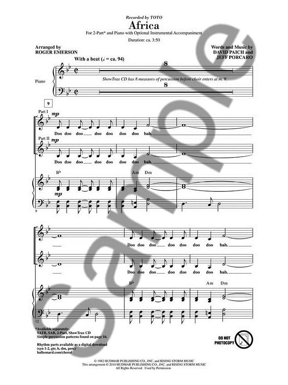 Africa Toto Sheet Music Keninamas