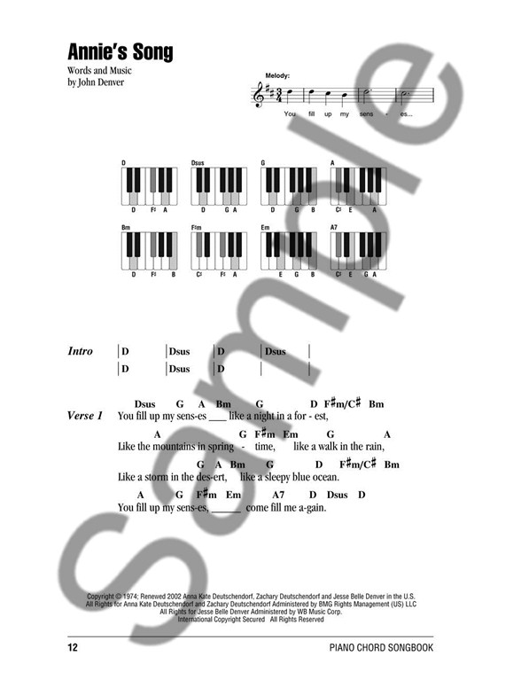 John Denver: Piano Chord Songbook - Lyrics & Piano Chords Sheet ...