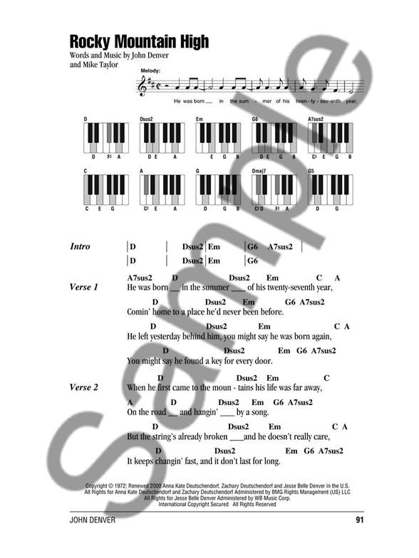 John Denver Piano Chord Songbook Lyrics Piano Chords Sheet