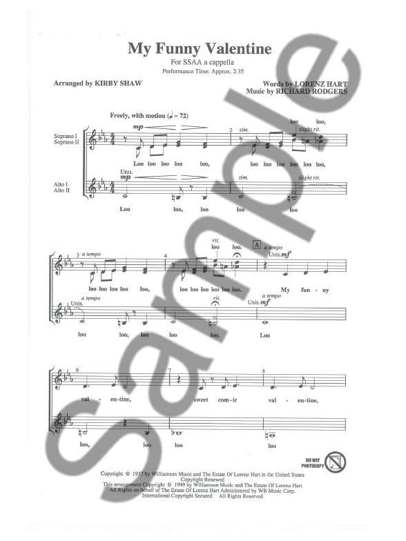 Richard Rogers My Funny Valentine Ssaa Ssaa Frauenchor Noten