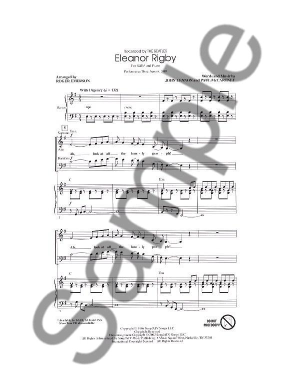 John Lennon/Paul McCartney: Eleanor Rigby (Arr. Emerson) SAB - SAB ...