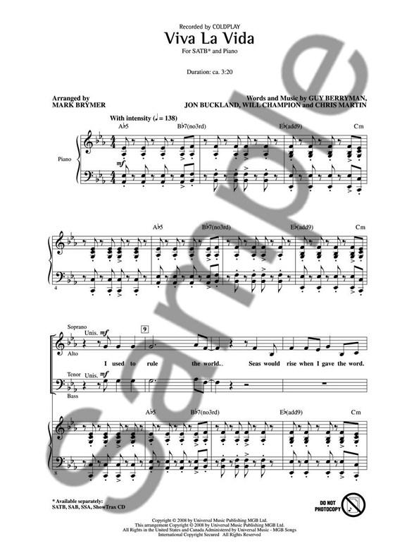 Coldplay Viva La Vida Satb Satb Sheet Music Sheet Music