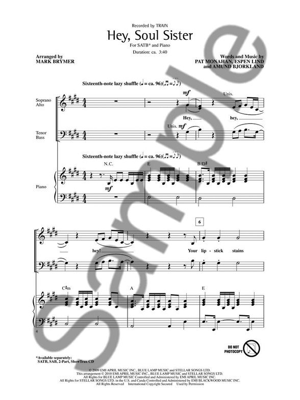 Train Hey Soul Sister Satb Satb Sheet Music Sheet Music