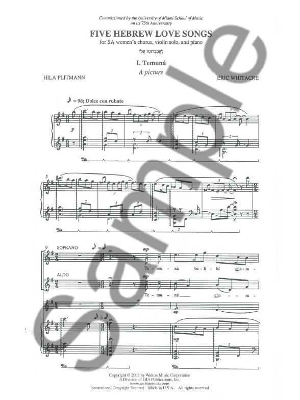 an interpretation of the five hebrew love songs by eric whitacre Five hebrew love songs (sa) sheet music - choral sheet music by eric whitacre: walton music shop the world's largest sheet music selection today at.