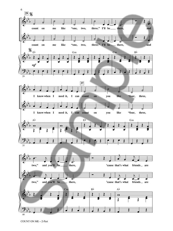 Bruno Mars Count On Me 2 Part Choir Piano Accompaniment Sheet