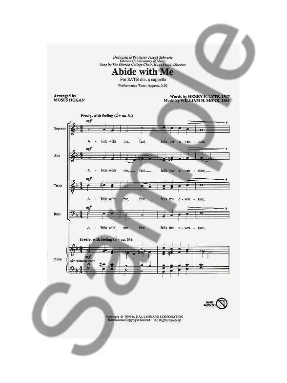 William Henry Monk Abide With Me Satb Choral Sheet Music