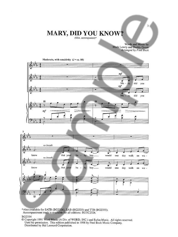 Buddy Greene: Mary, Did You Know? (SSA) - Choral Sheet Music - Sheet ...