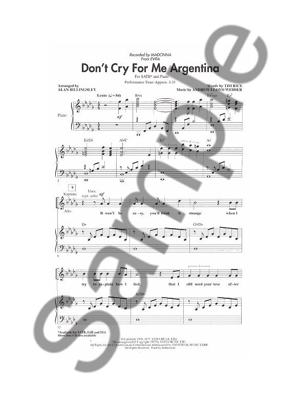 Andrew Lloyd Webber Dont Cry For Me Argentina Evita Satb