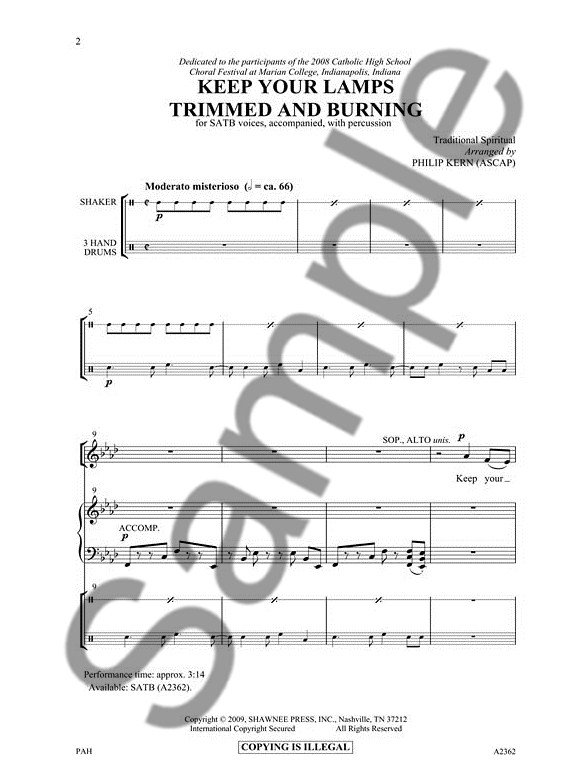 ... Arr. Philip Kern: Keep Your Lamps Trimmed And Burning (SATB) ...