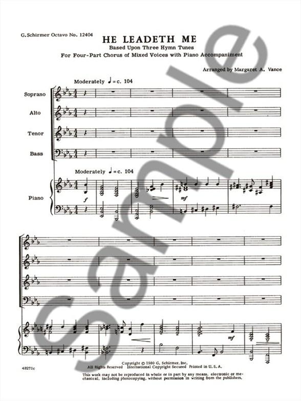 Arr. Margaret A. Vance: He Leadeth Me - Piano Accompaniment Sheet ...