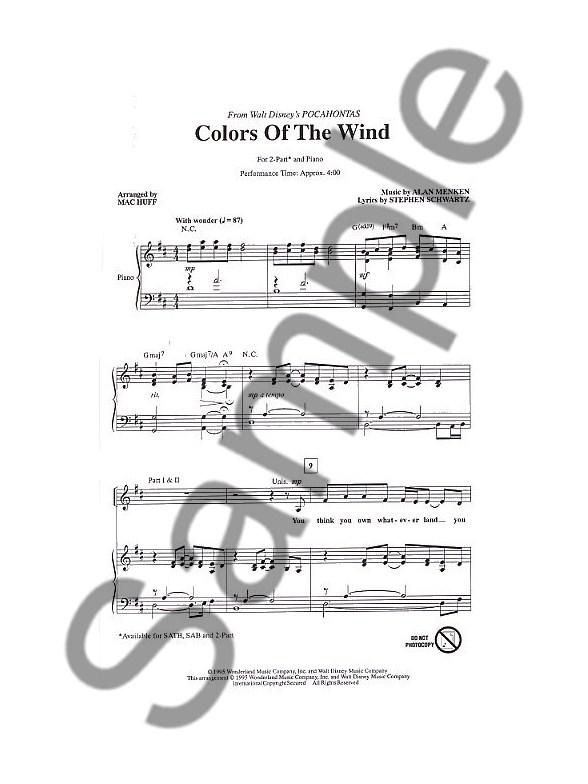 Alan Menken: Colors Of The Wind (2-Part) - Piano Accompaniment Sheet ...