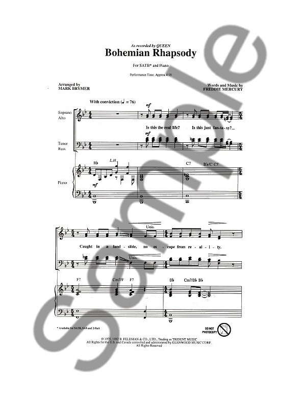 bohemian rhapsody piano sheet music pdf