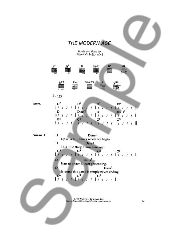 The Strokes: Chord Songbook - Lyrics & Chords Sheet Music - Sheet ...