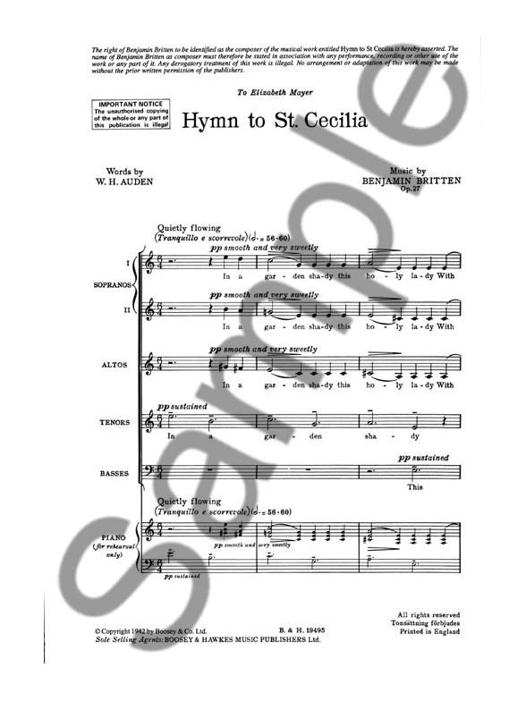 Benjamin Britten | Hymn to St Cecelia (with score) - YouTube