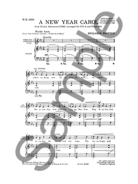 Benjamin Britten - New Year Carol - Sheet Music - di ...