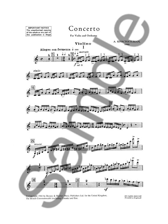 aram khachaturian violin concerto piano accompaniment sheet music sheet music songbooks. Black Bedroom Furniture Sets. Home Design Ideas