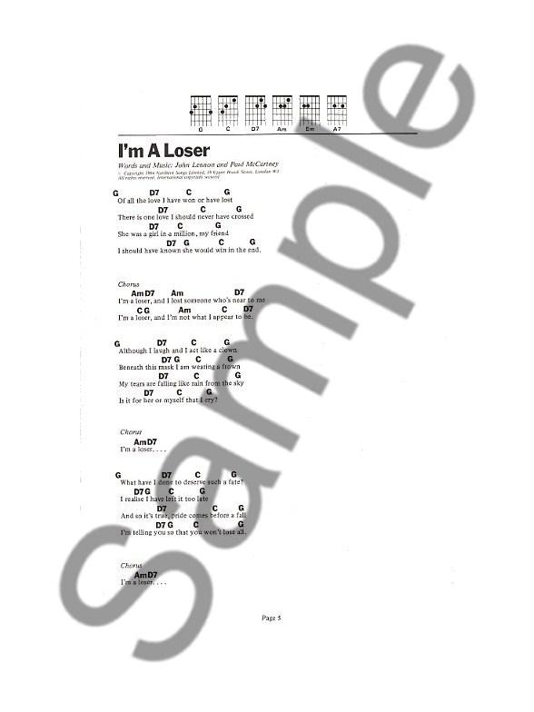 The Beatles The 6 Chord Songbook Lyrics Chords Sheet Music